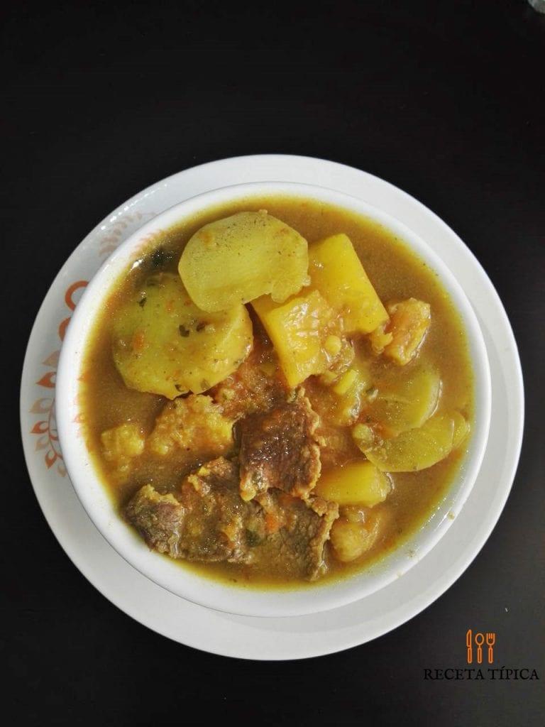 Plate with beef sancocho or sancocho de res