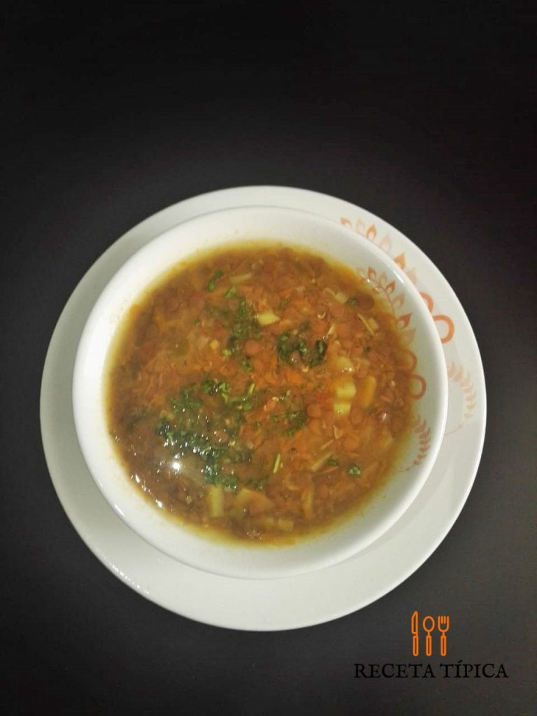 Plate with lentil soup