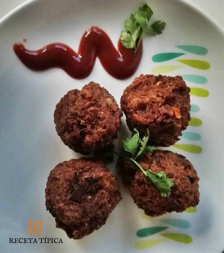 Dish with homemade meatballs