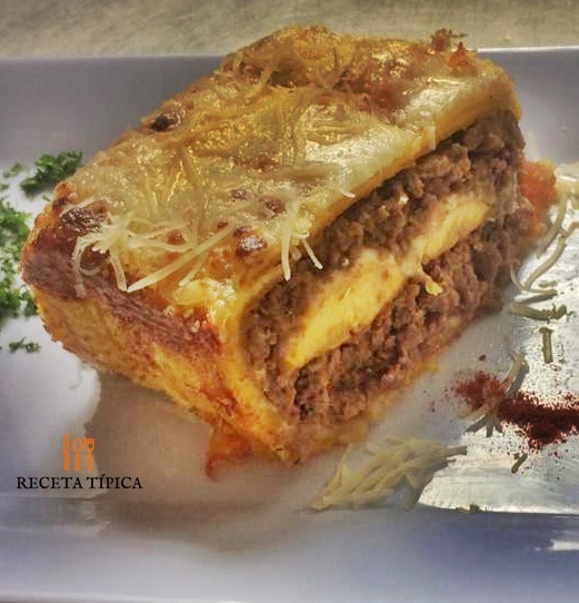 Dish with Meat lasagna
