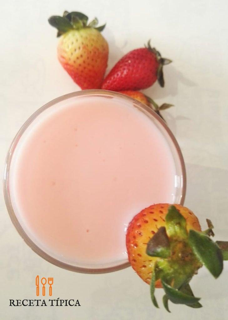 glass with strawberry yogurt