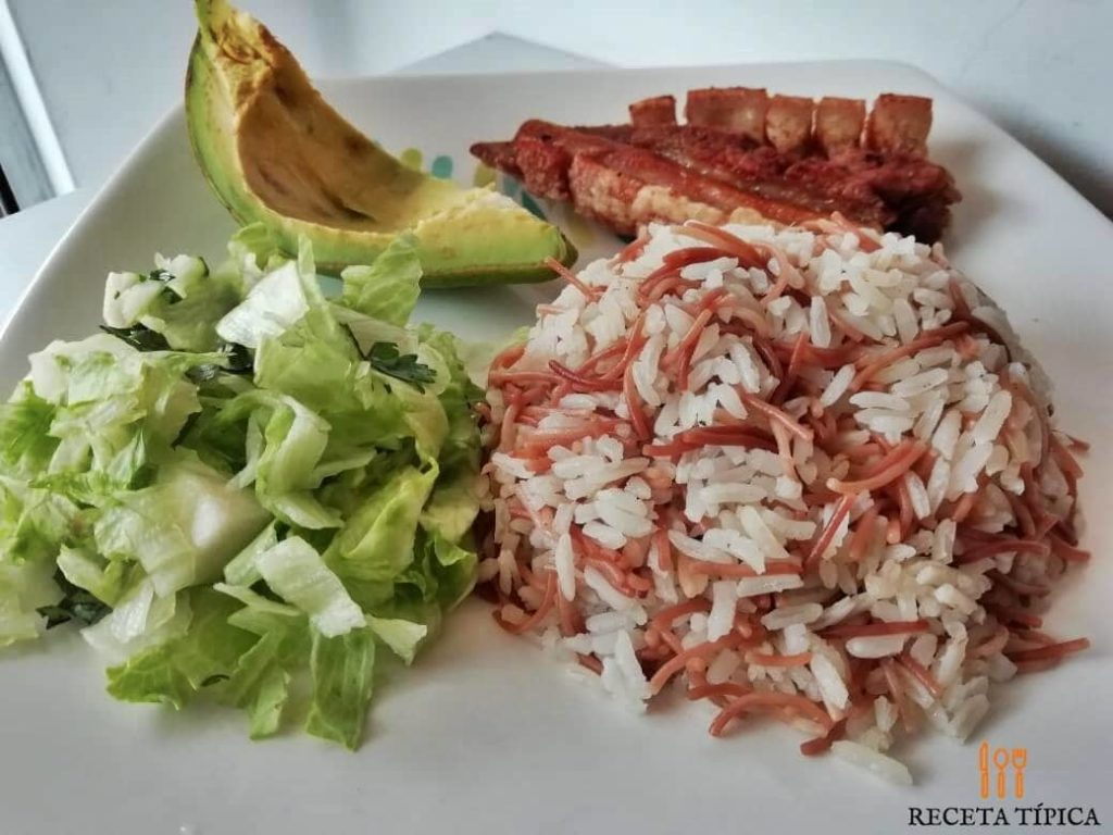 Dish with Rice with vermicelli and avocado slice