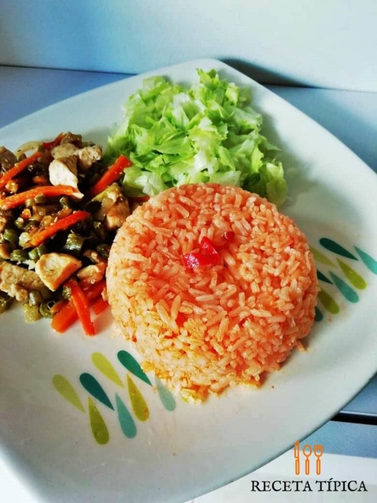 Plate with red rice