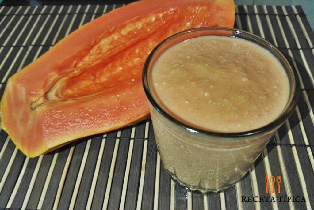 Glass with papaya smoothie