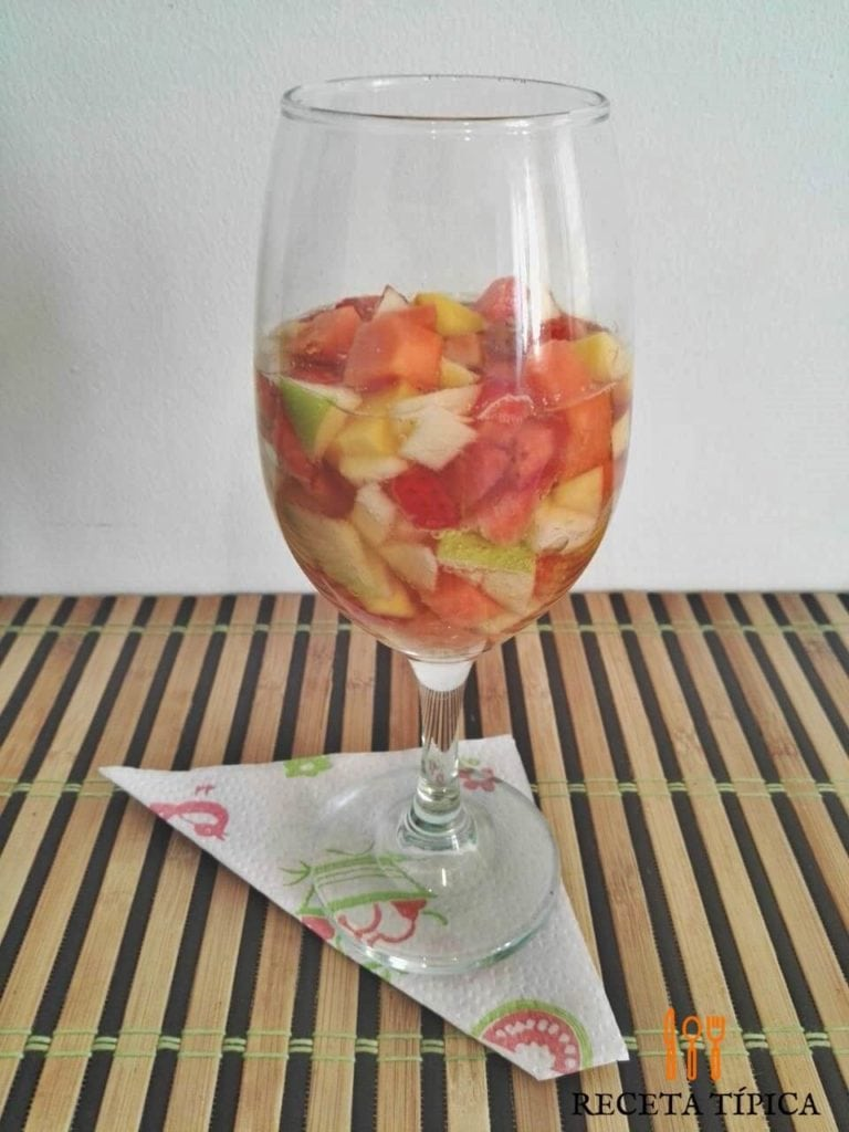 Glass with fruit cocktail or coctel de frutas