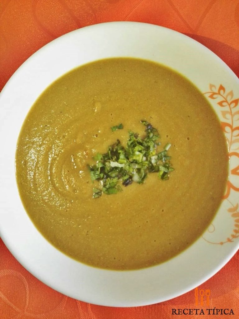 Plate with creamy plantain soup