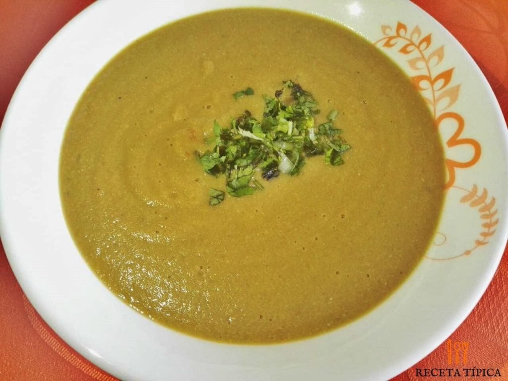 Dish with creamy plantain soup