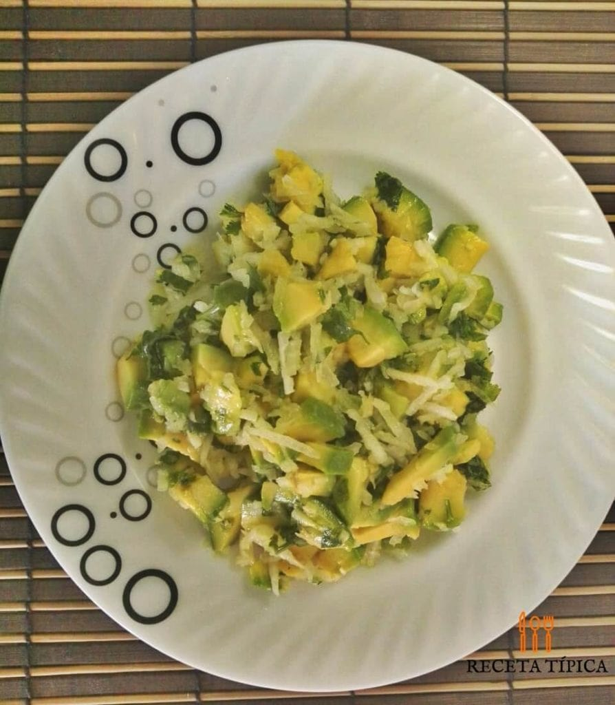 Dish with avocado salad