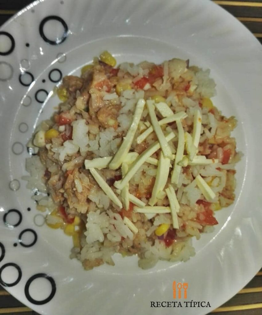 Plate with rice salad