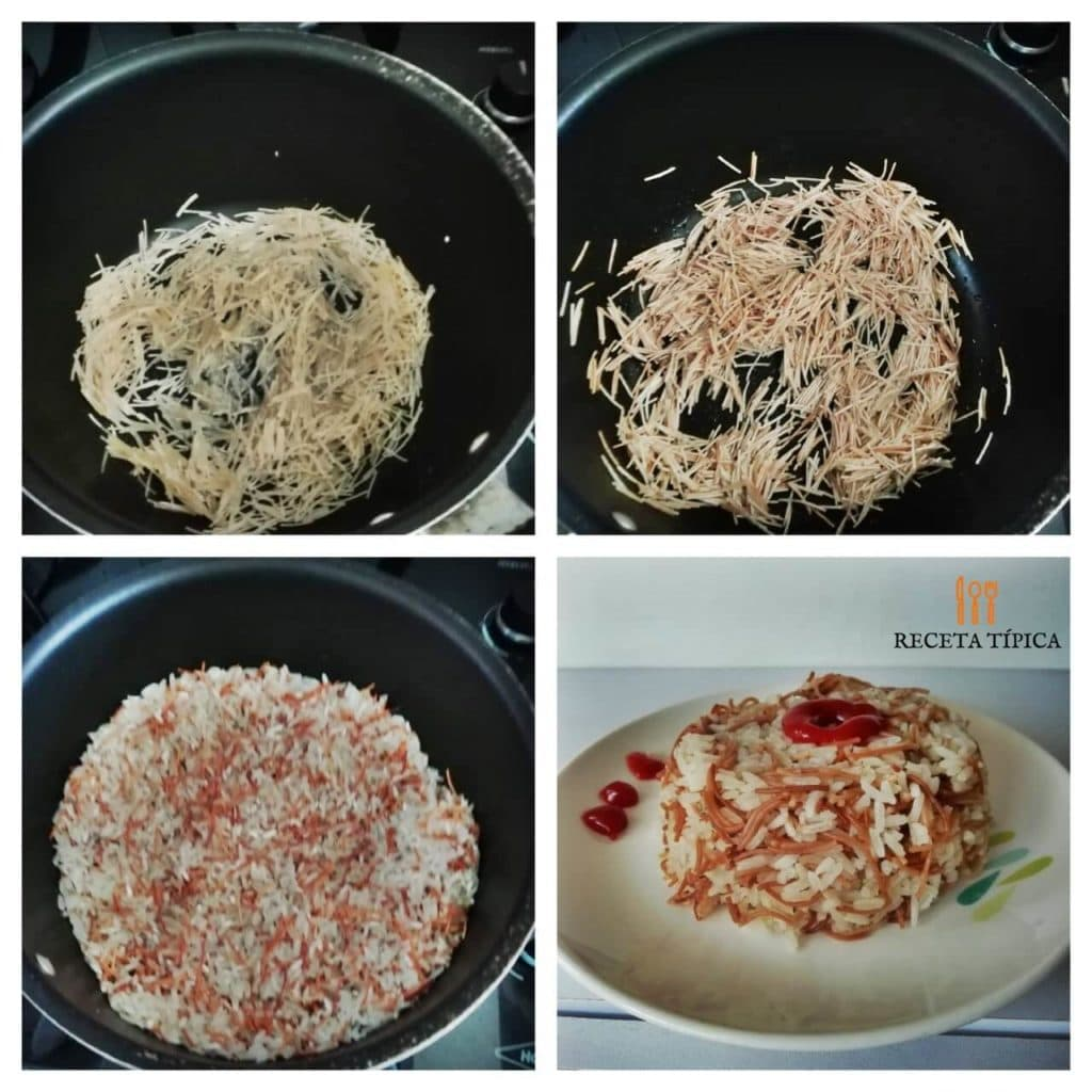 Instructions to prepare rice with vermicelli