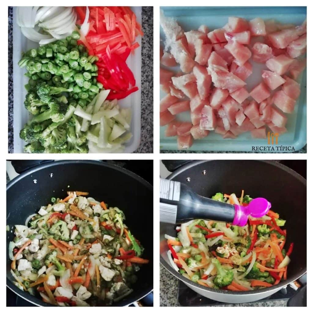 Instructions for preparing chicken chop suey