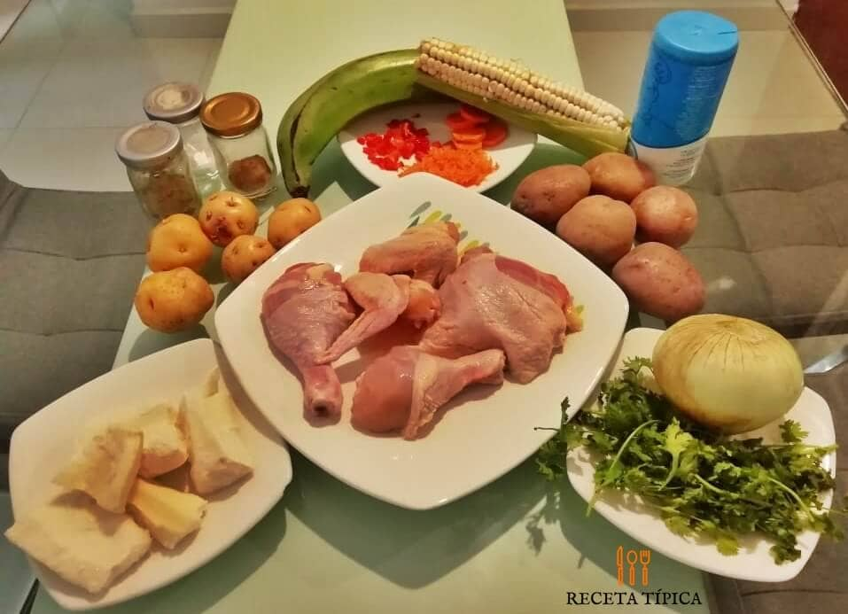 Ingredients for preparing chicken sancocho