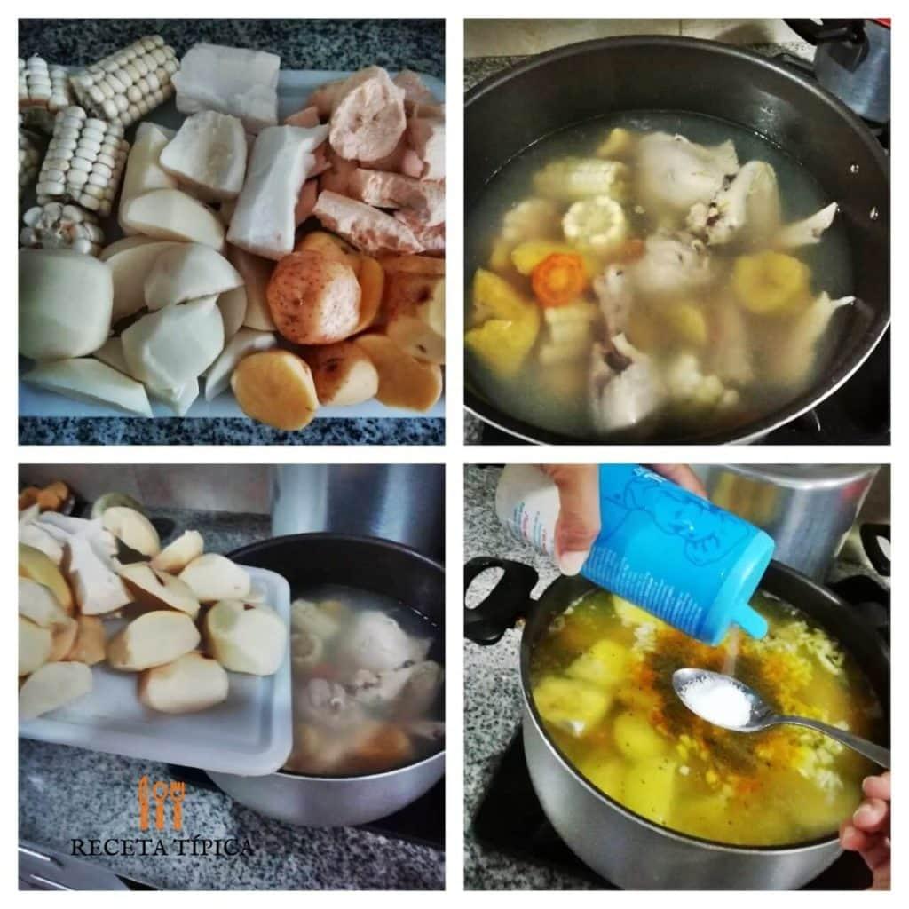 Instructions for preparing chicken sancocho