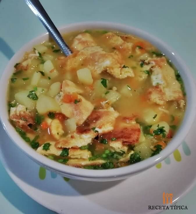 Dish with egg tortilla soup
