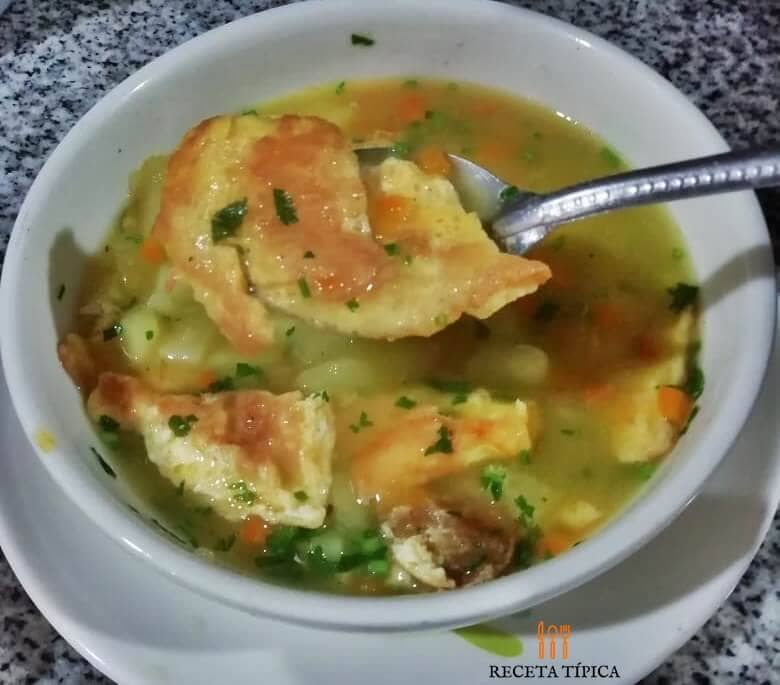 Plate with egg tortilla soup