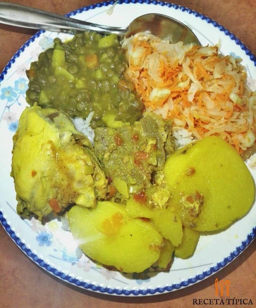Dish with chicken stew