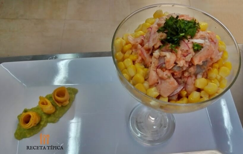glass with trout ceviche