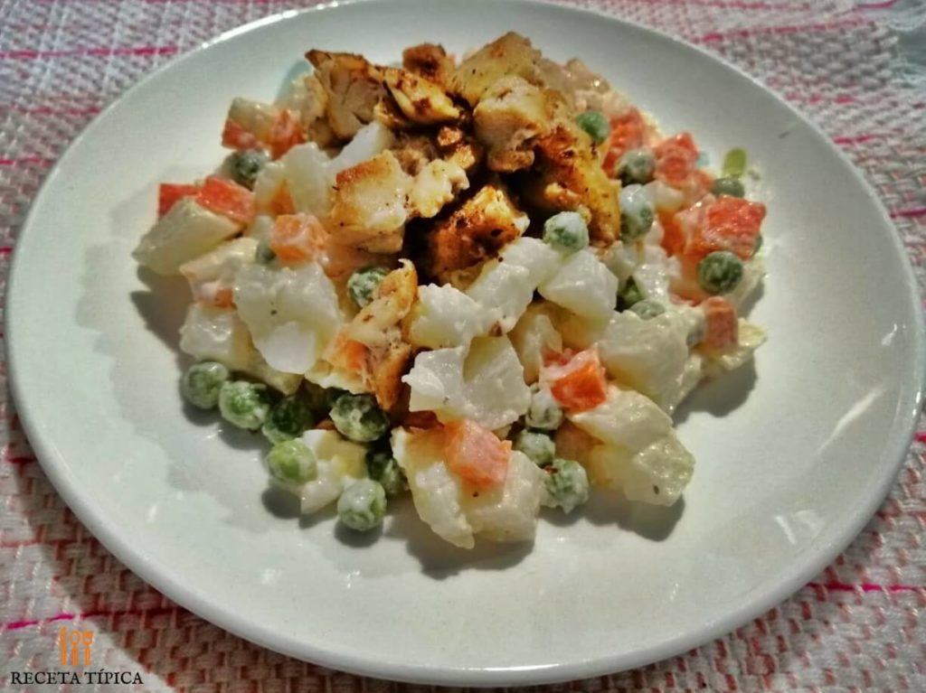 Vegetable and chicken salad