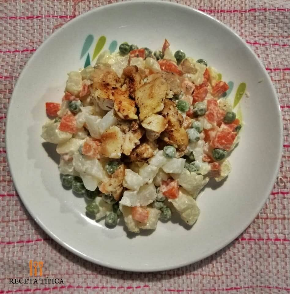Dish with vegetable and chicken salad