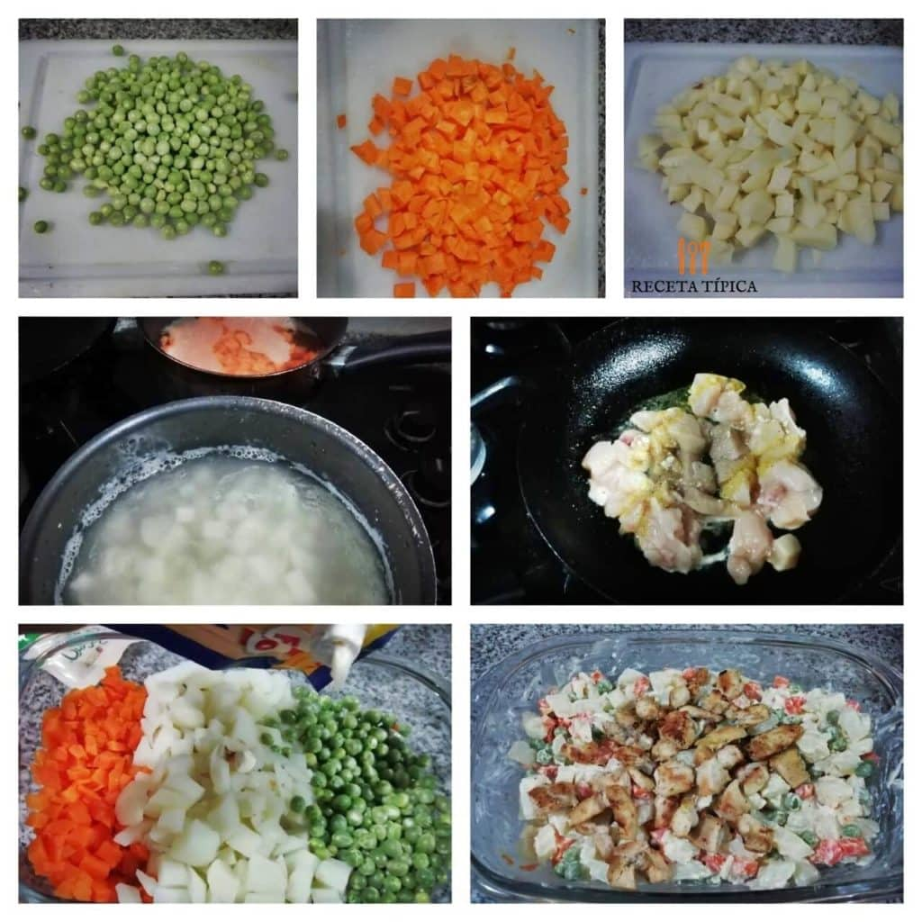 Instructions step by step vegetable and chicken salad.