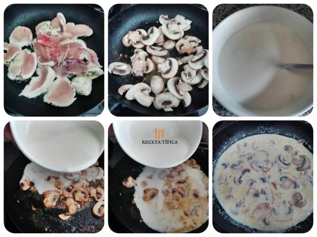 Instructions for preparing creamy mushroom chicken