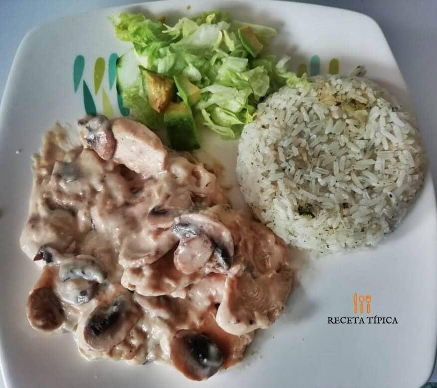 Plate with creamy mushroom chicken