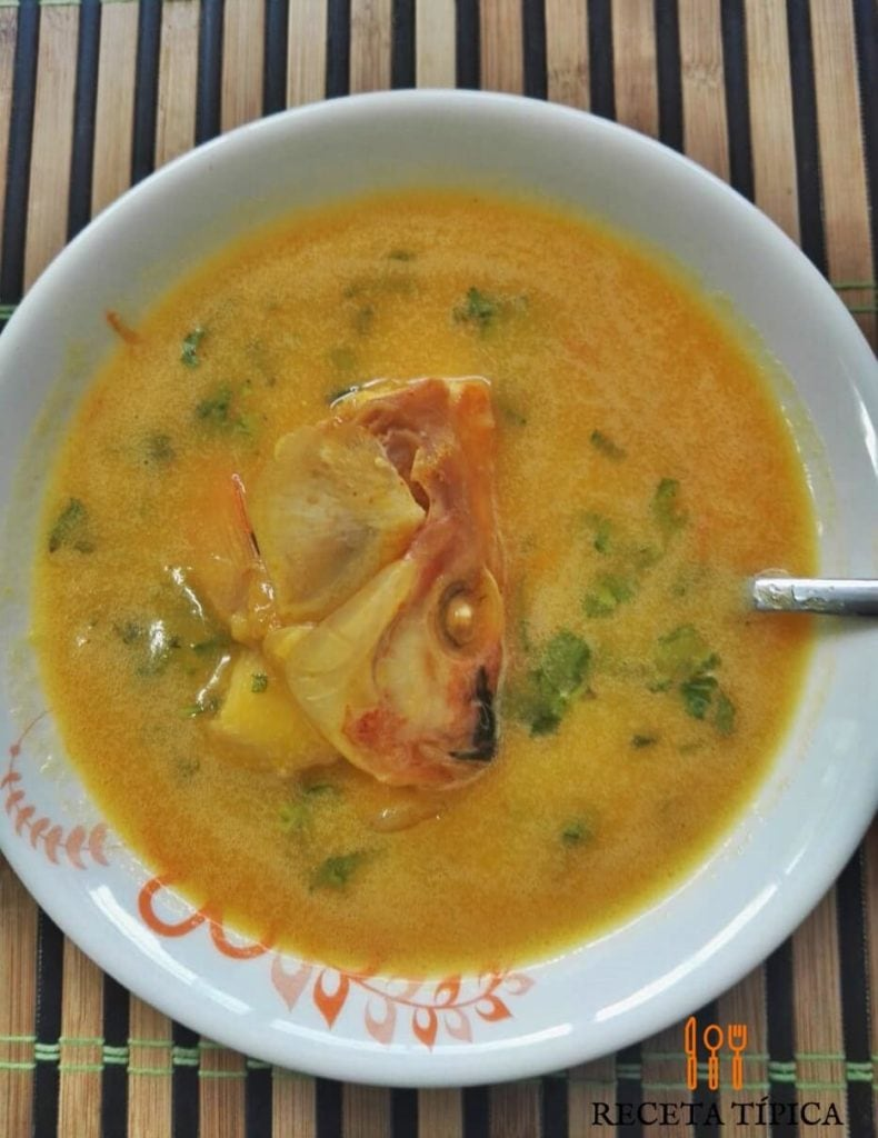 Plate with fish head soup