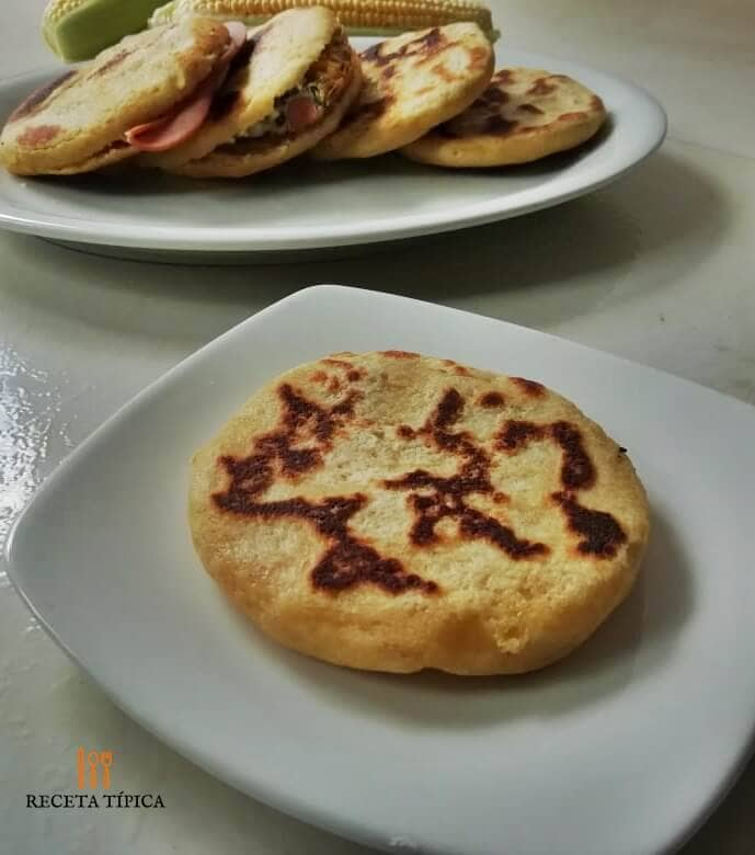 Dish with wheat flour arepas