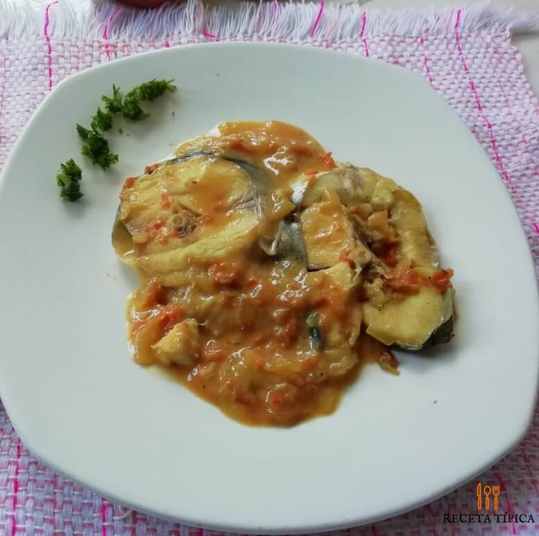 Dish with catfish in sauce