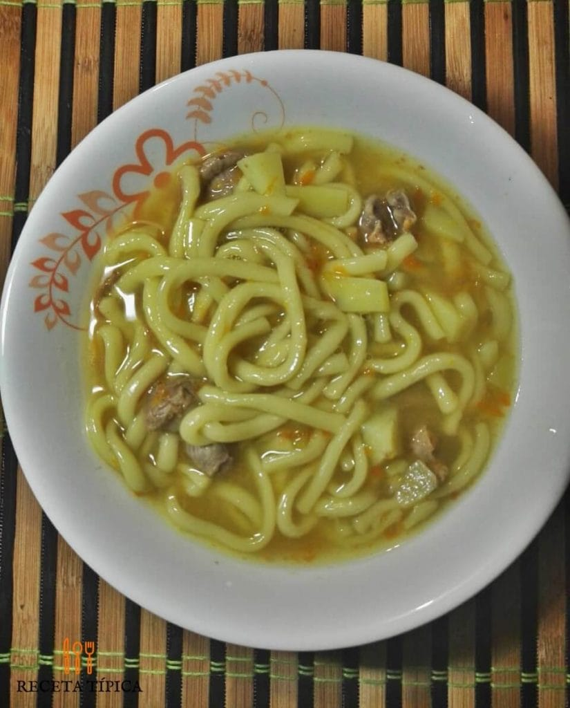 Plate with noodle soup