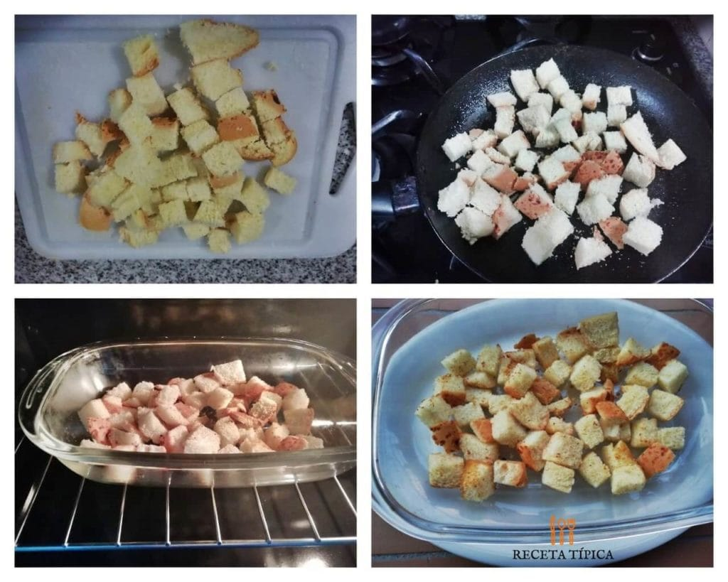Step by step homemade croutons