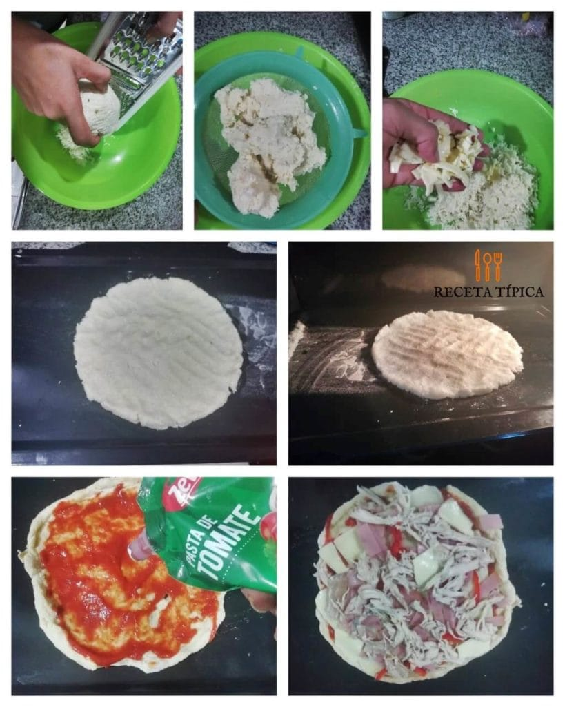 Step by step cauliflower-based pizza
