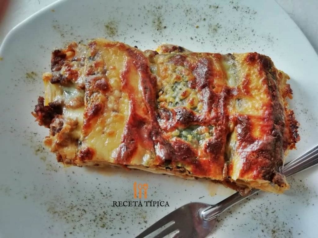 plate with sweet plantain lasagna