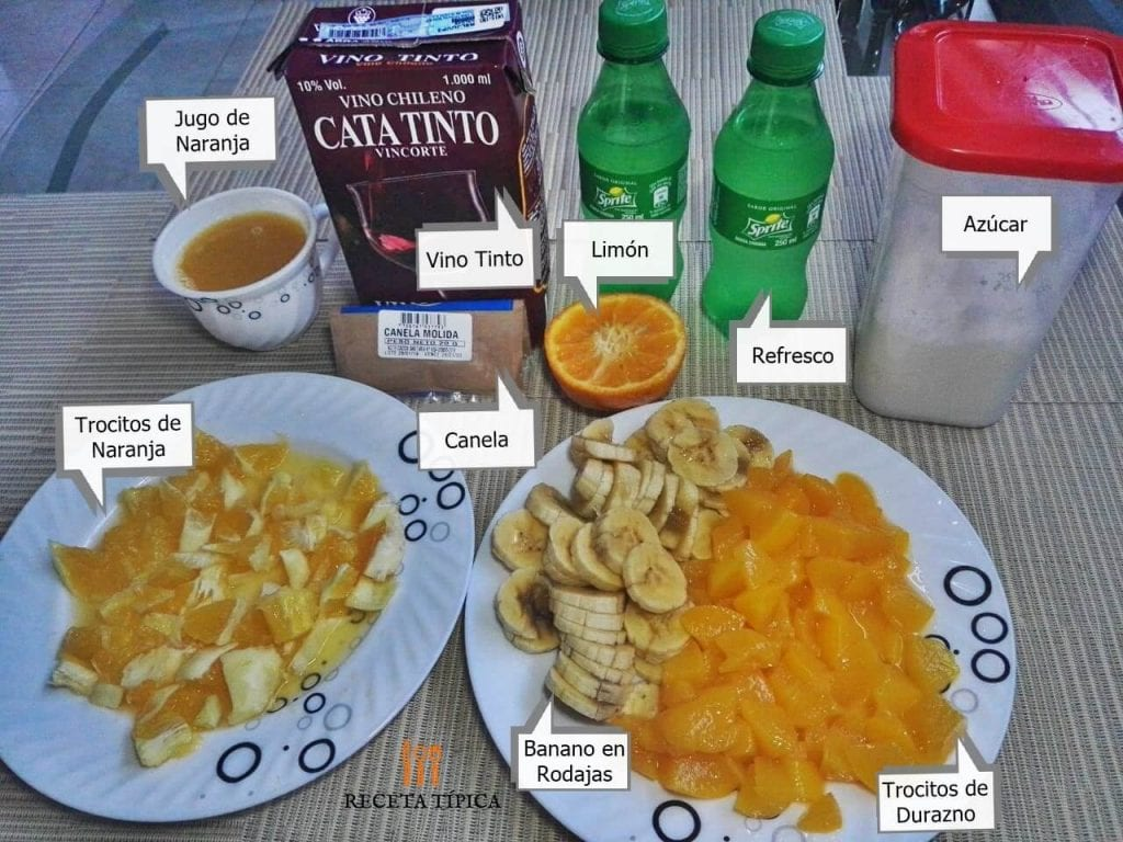 Ingredients to prepare sangria