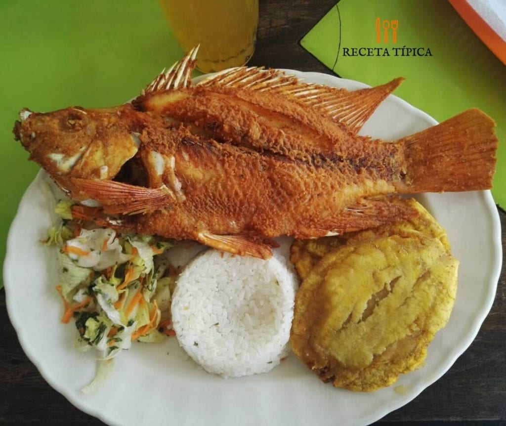 Dish with Fried mojarra, salad and white rice