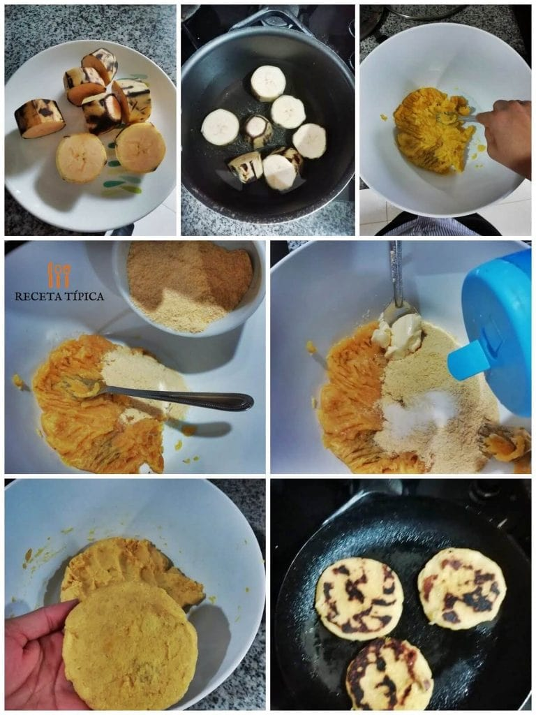 Step by step instructions Ripe Plantain Arepas