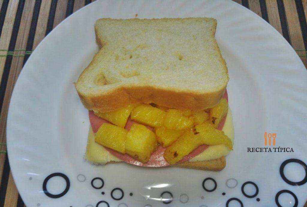 Plate with Hawaiian sandwich